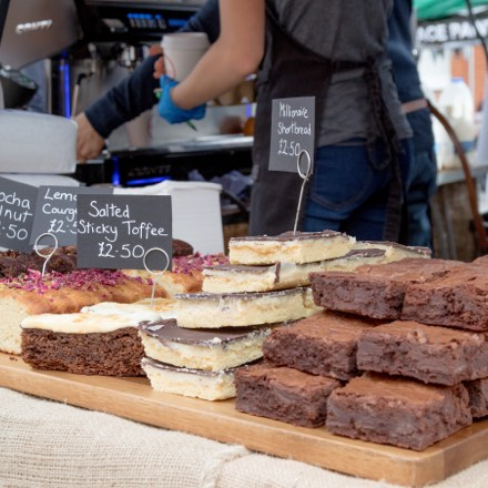 A photo of delicious cakes you can find in one of many Farnham cafes which make Brigghtwells Yard a great place to live.