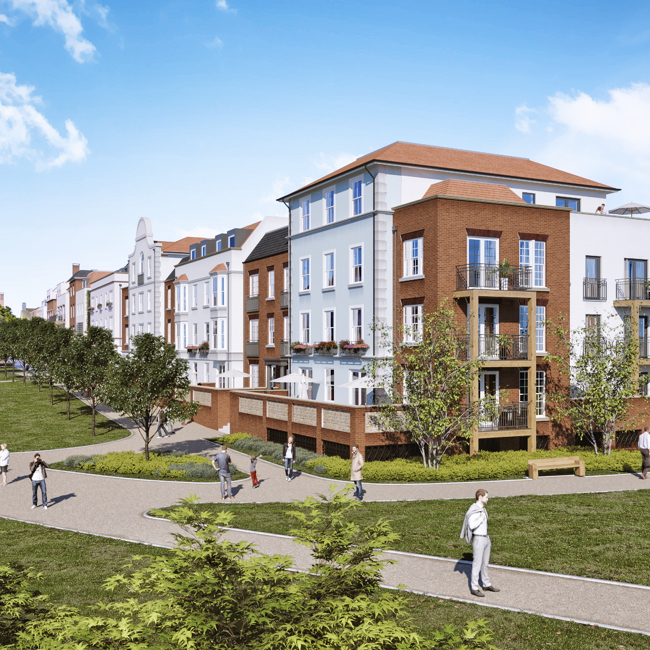 A CGI of the Brightwells Yard apartments for sale and the surrounding park - a new landmark in Farnham.